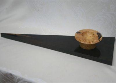 White Kiaat bowl on Blackwood triangle.